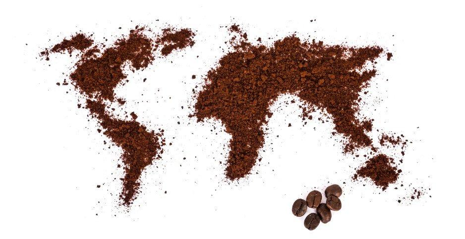 koffieboon wereldmap